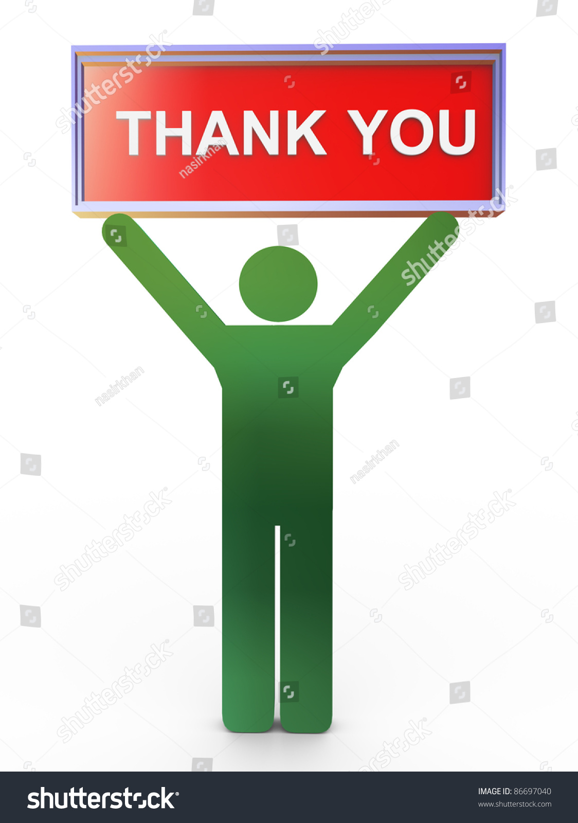 3d Man Holding Object With Text 'Thank You' Stock Photo ...