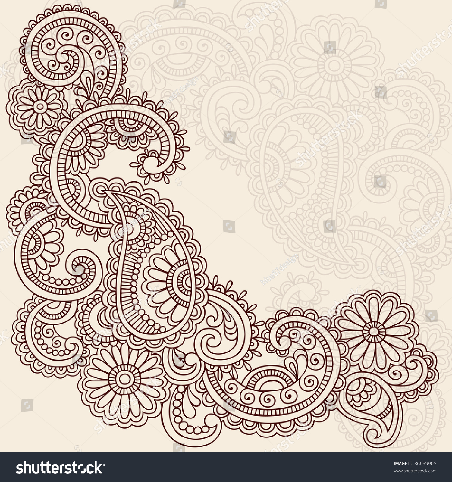 Mehndi Patterns Vector : Handdrawn abstract henna mehndi swirls flowers stock