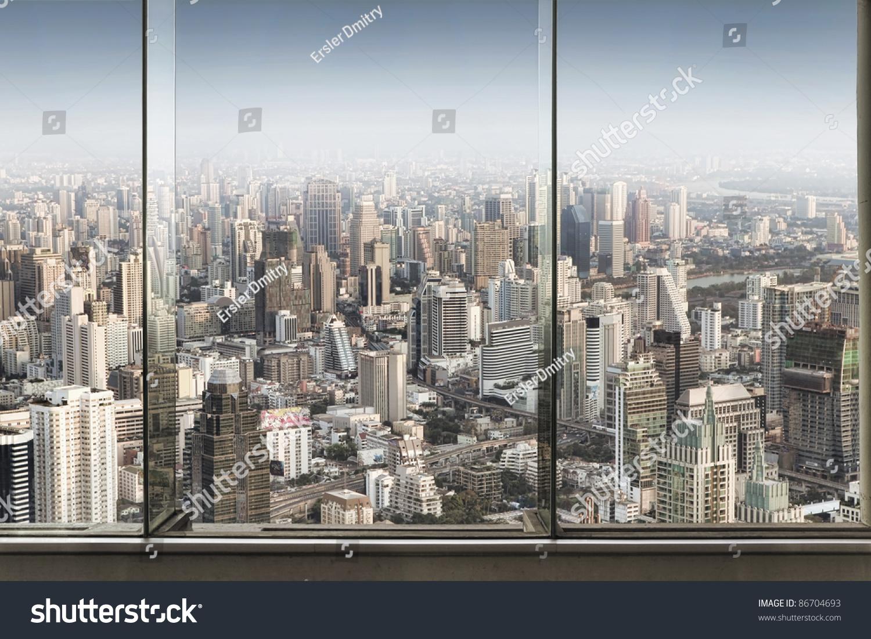 City Glass Windows : Panoramic view window nice big city stock photo