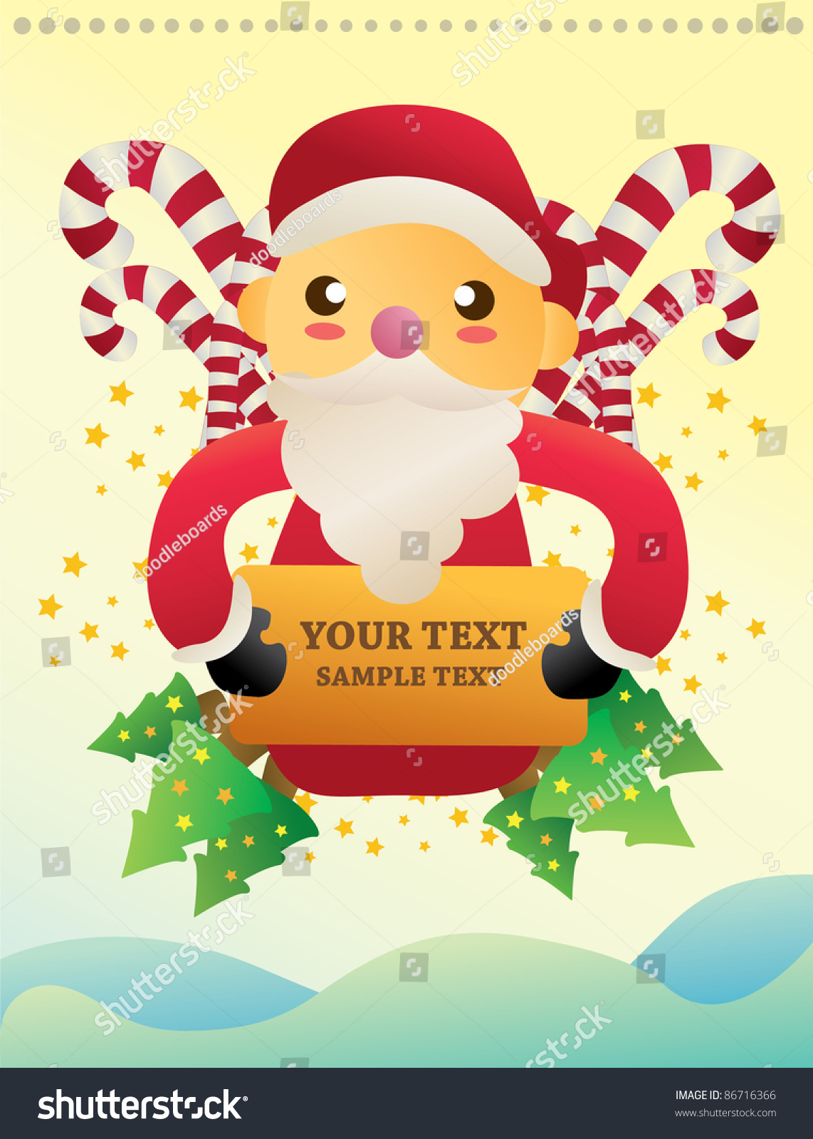 Christmas Note And You Can Put Your Text On The Banner Stock Vector Illustration 86716366 ...