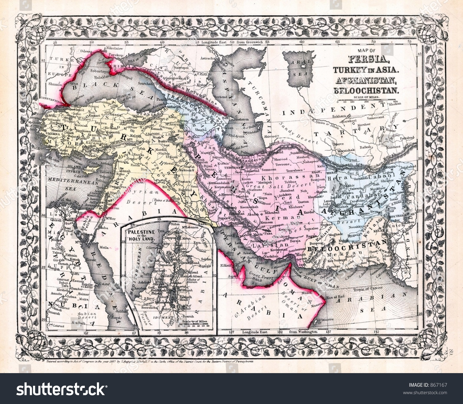 Antique 1870 Map Persia Iraq Iran Photo 867167 Shutterstock – Map of Iraq and Afghanistan