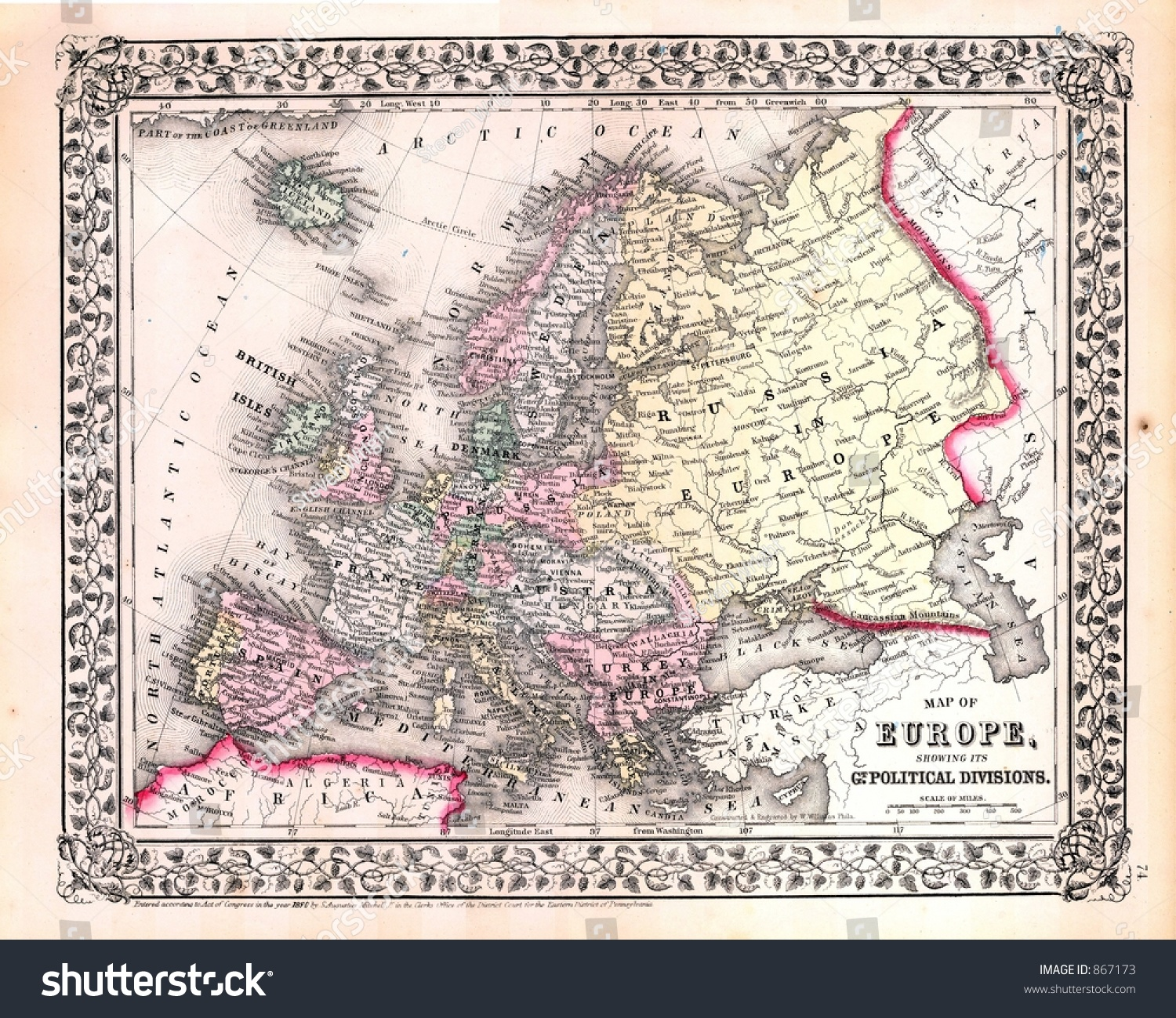 Antique 1870 Map Europe Stock Photo Edit Now 867173
