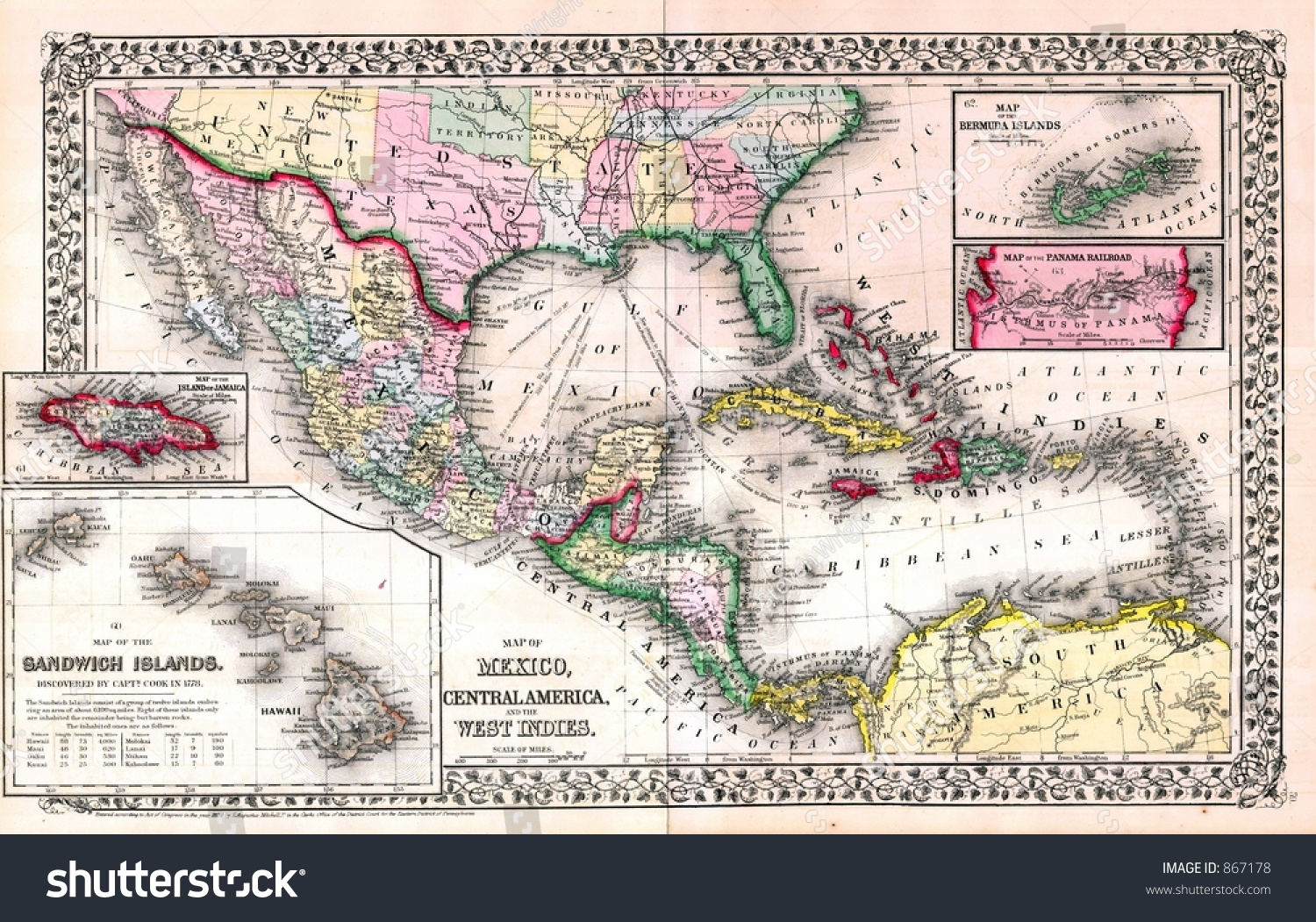 America The West Indies Central America Physical Map - West indies central america 1763