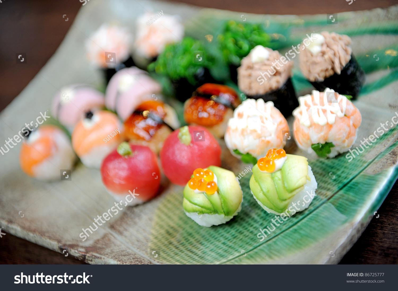 Modern Japanese Food Sushi Ball Stock Photo 86725777