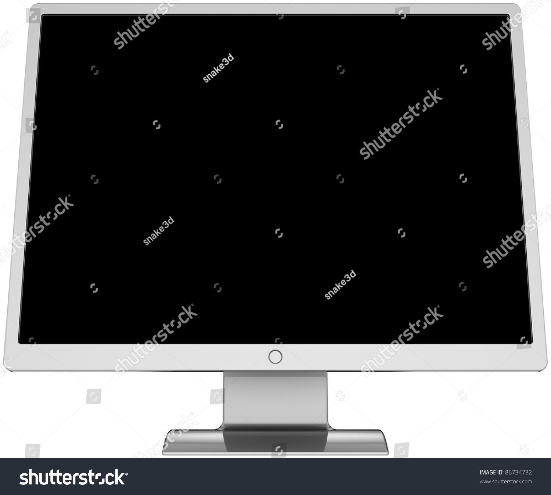 Computer monitor blank black screen lcd flat colored grey