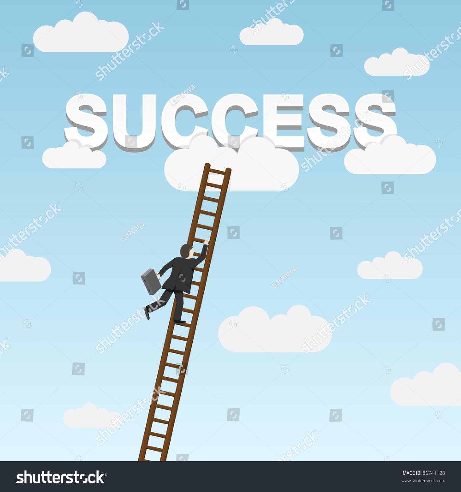 Businessman Climbing Ladder To Success. Vector