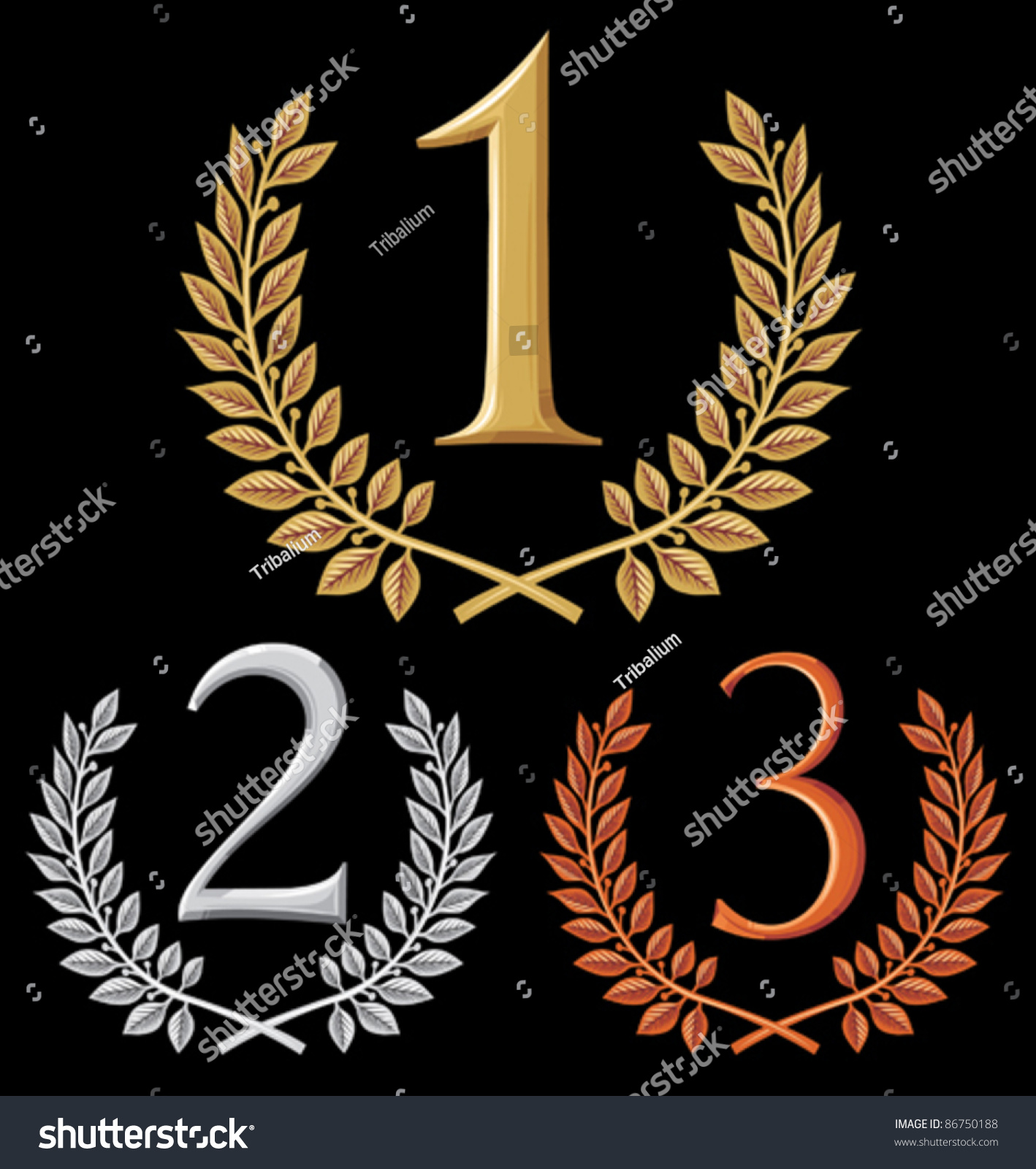 First Second Third Place Set Gold Stock Vector Royalty Free