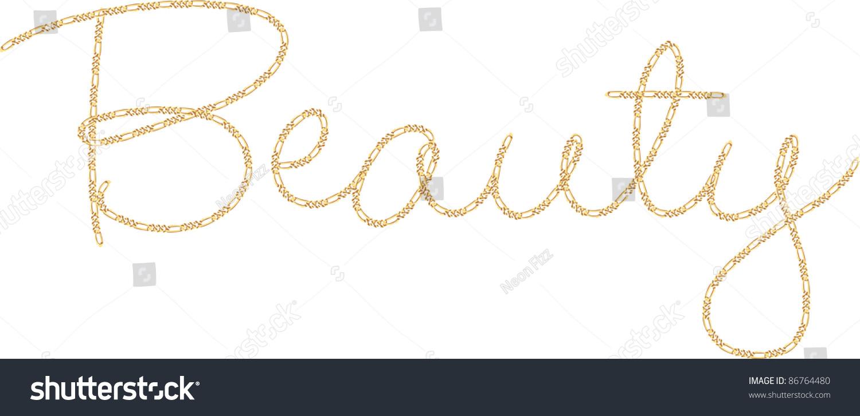 the word beauty written in fine gold chain script stock