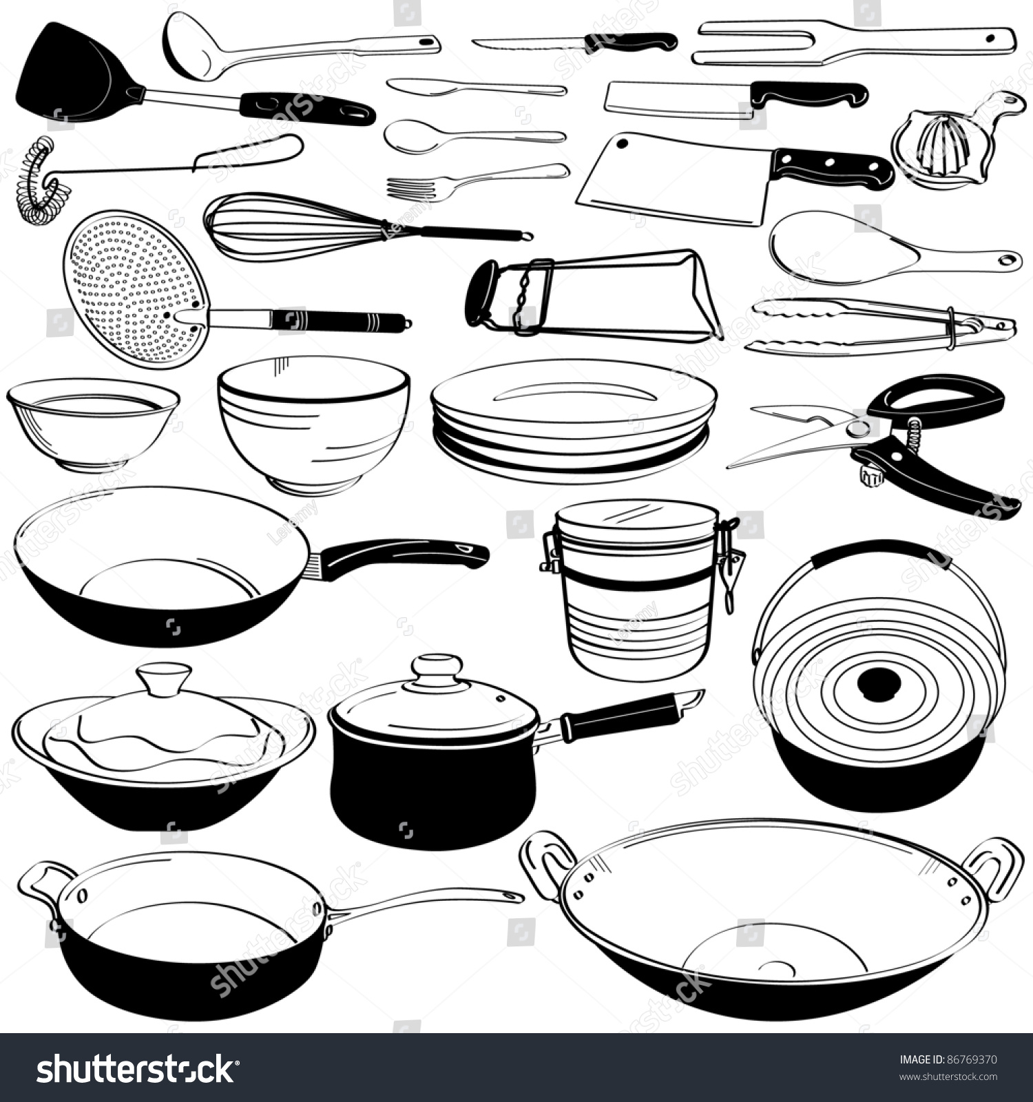 kitchen tool utensil equipment doodle drawing stock vector royalty