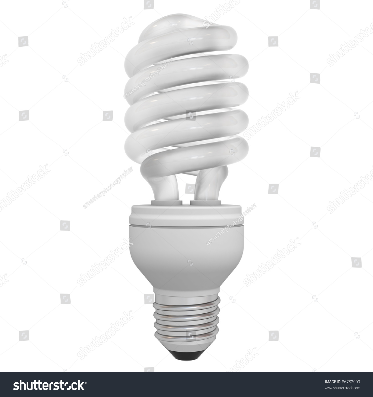 Energy Saving Compact Fluorescent Light Bulb Isolated On White Background Stock Photo 86782009