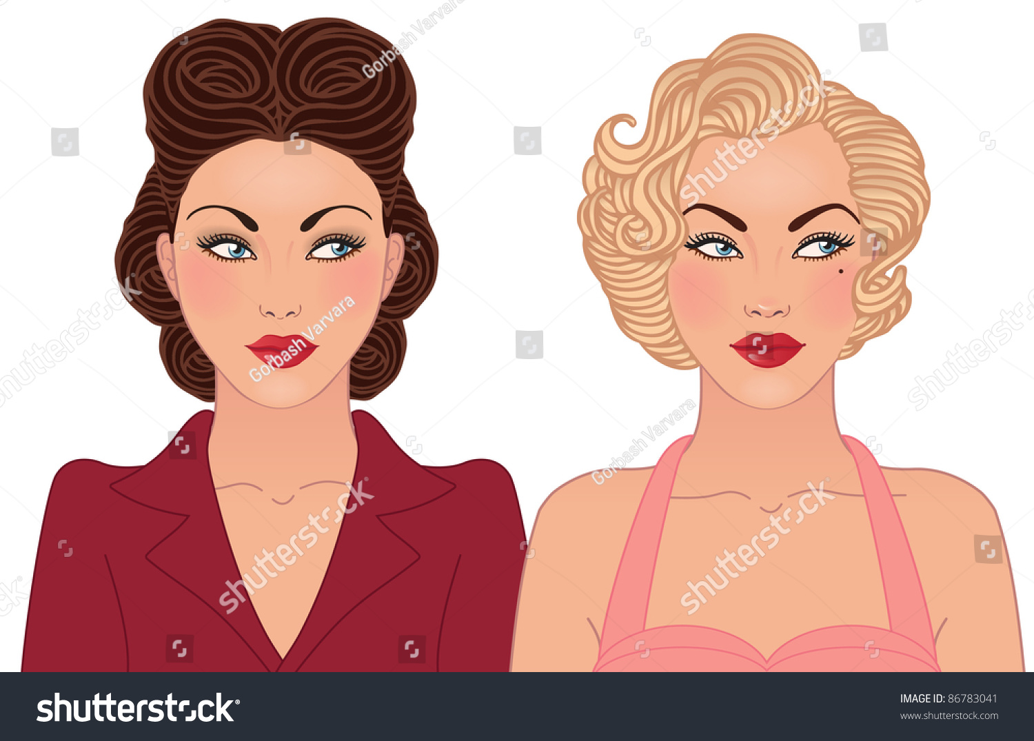 Cartoon Characters 1940s And 1950s : Hairstyle makeup decades th century stock
