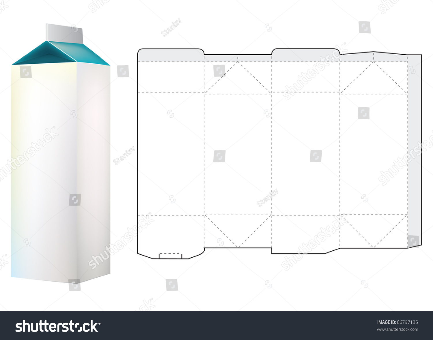 Template Of Milk Carton Box 86797135