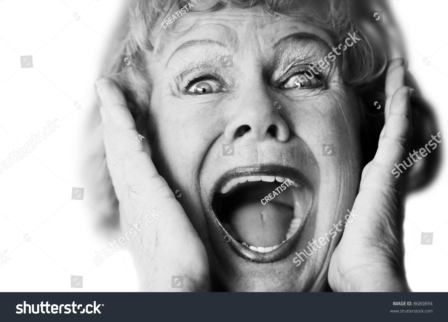 Senior Woman With Hand Over Mouth Closeup Portrait Stock