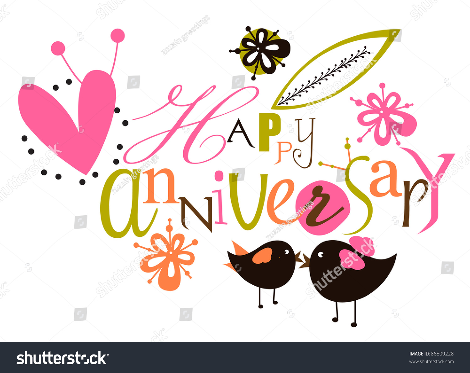 Happy Anniversary Script Card Stock Vector 86809228 ...