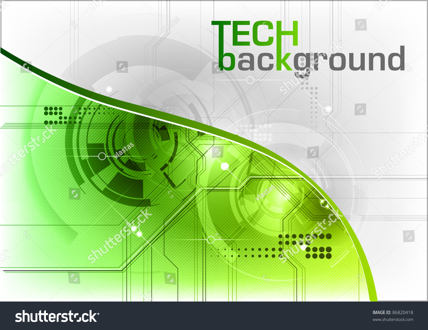 Green Tech Background With Line Stock Vector Illustration