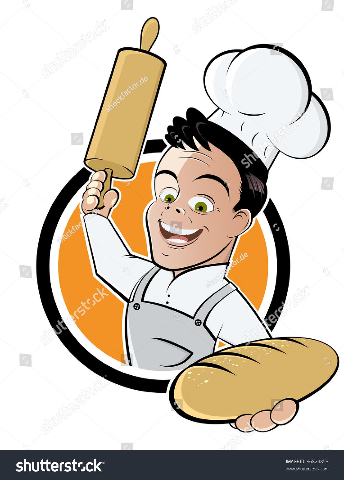 Stock Vector Funny Cartoon Baker on Pizza Clip Art Pics Funny Cartoons