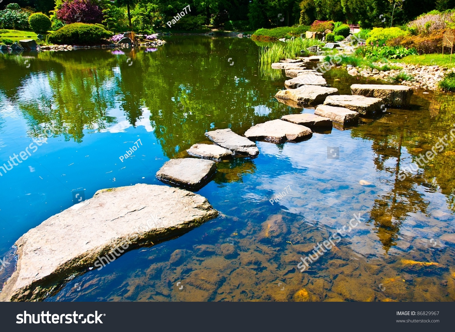 Path in japanese water garden stock photo 86829967 for Water in japanese