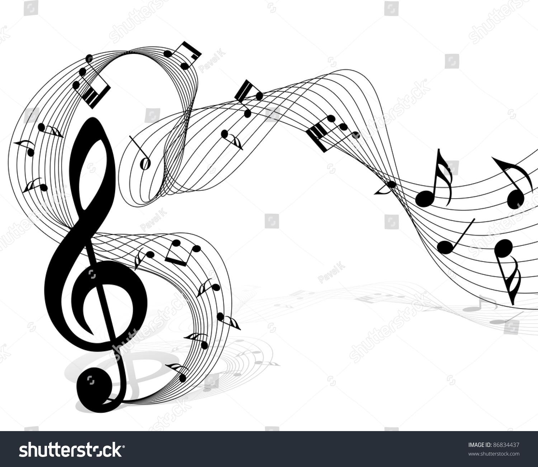 musical notes staff background design use stock illustration