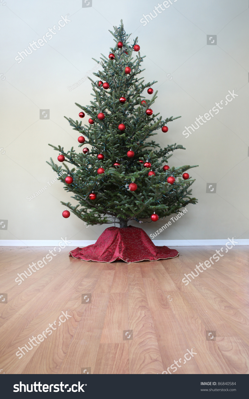 Christmas tree red ball ornaments lights stock photo