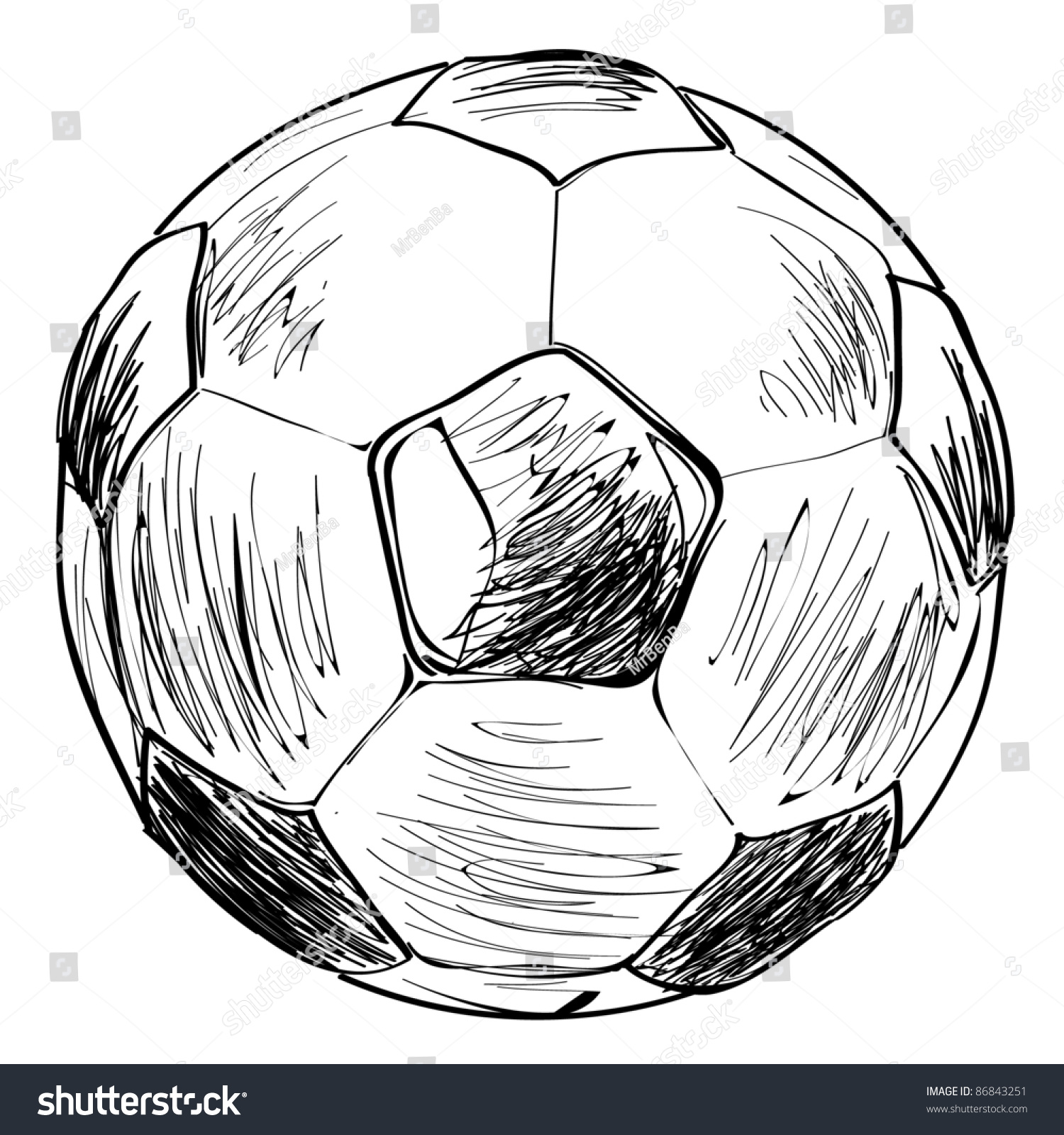 Football soccer ball sketch vector illustration stock for Sketch online free