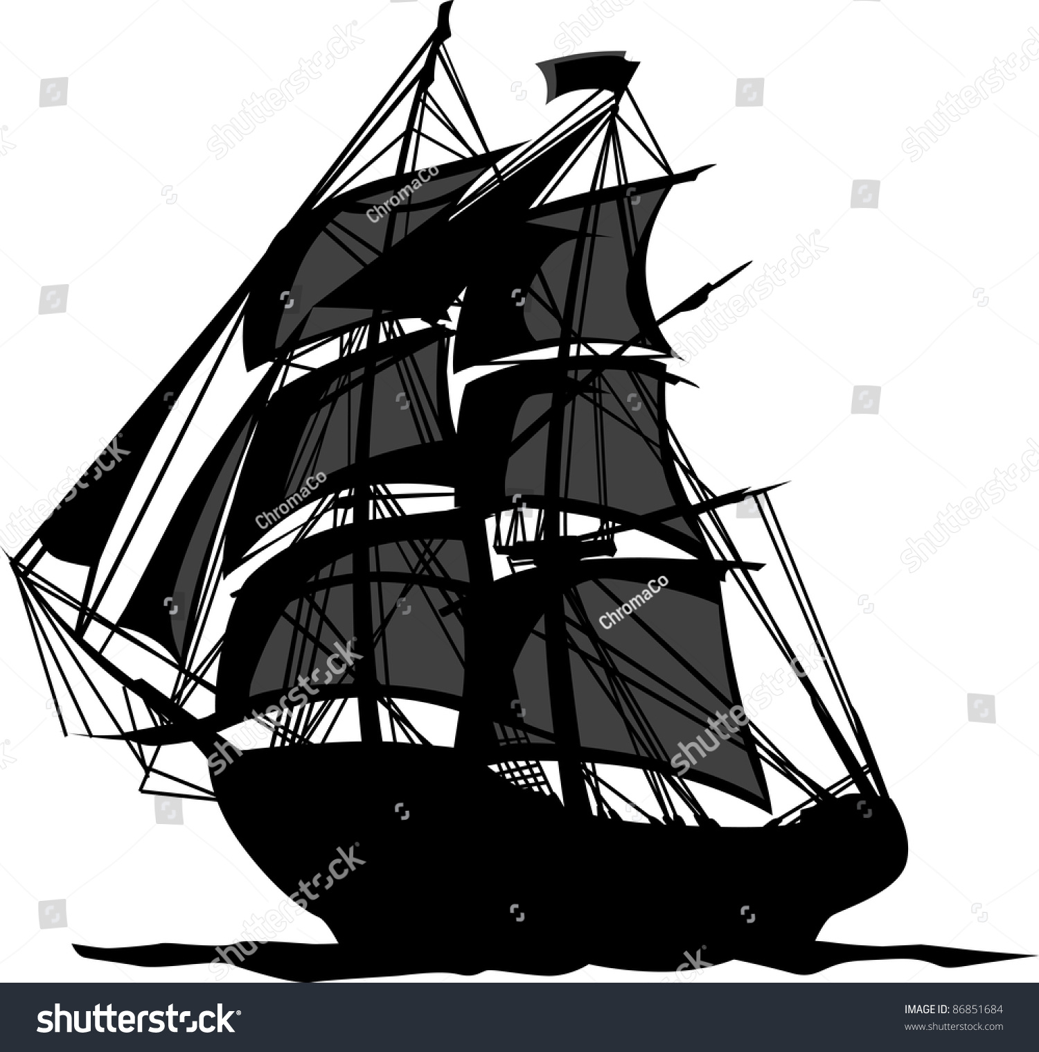 Sailing Pirate Ship With Sails Graphic Vector Image ... Sailing Ship Vector
