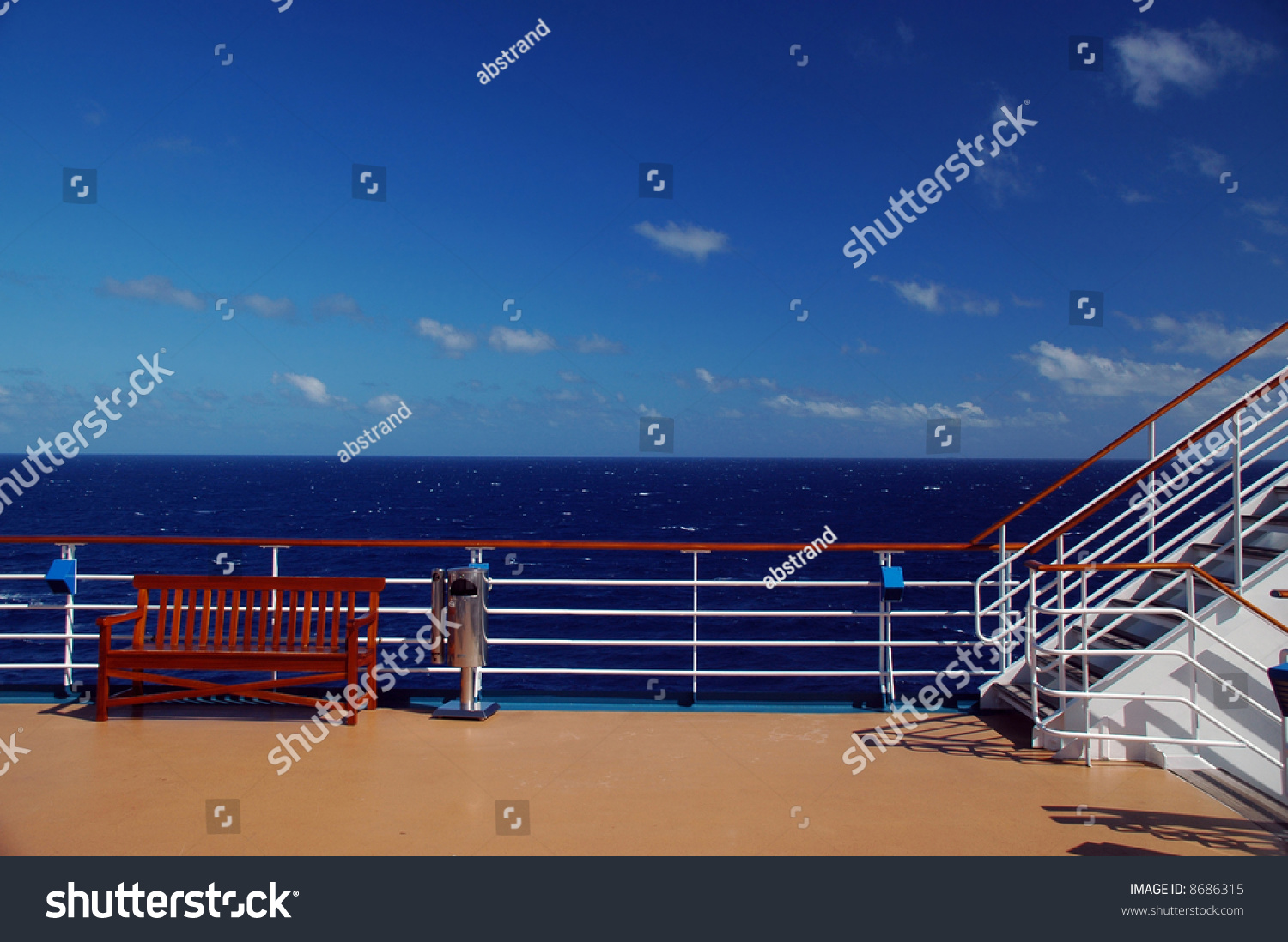 Scenic view top deck on cruise stock photo 8686315 for Balcony on cruise ship