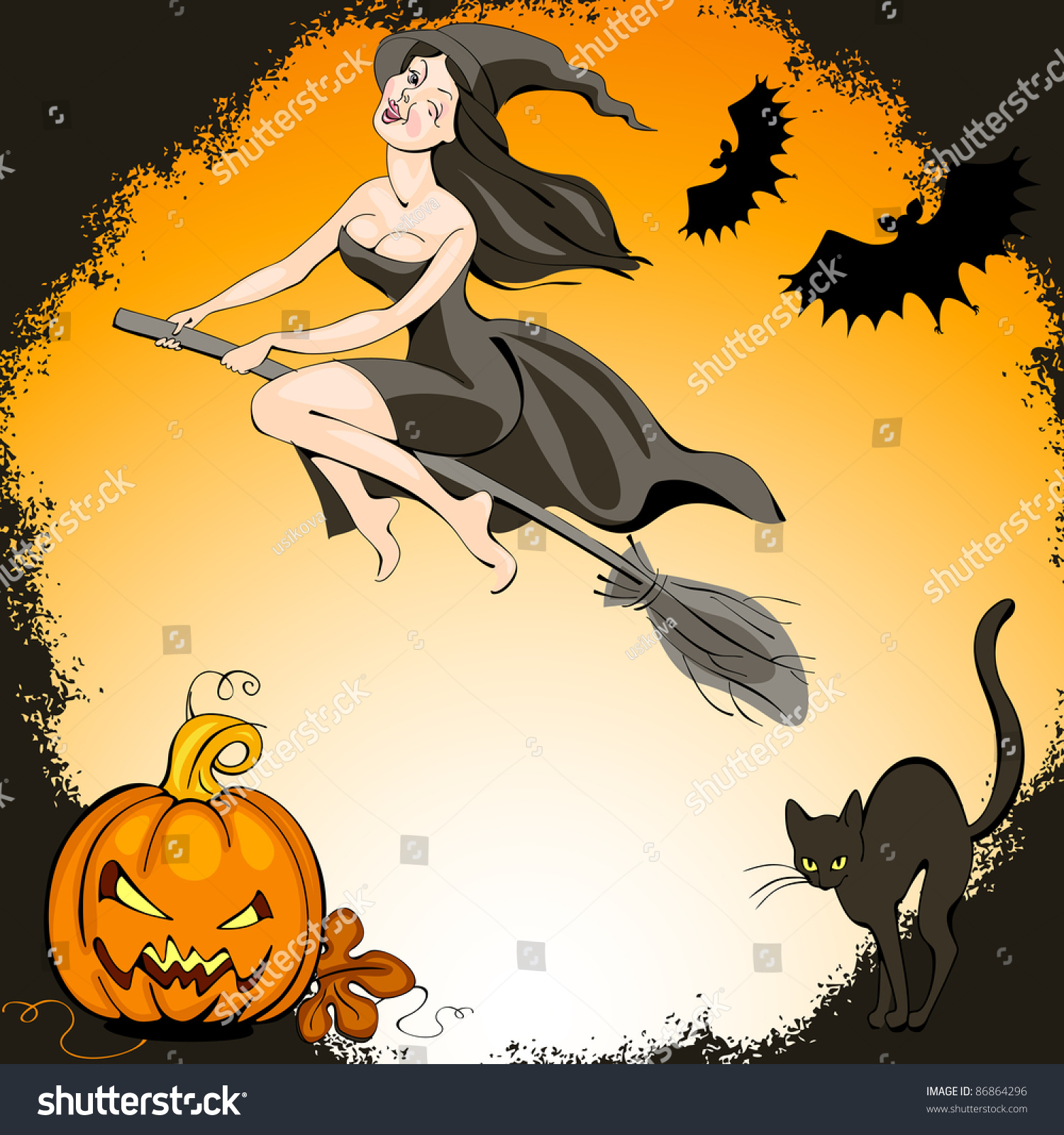 halloween set pretty witch on broom stock vector 86864296