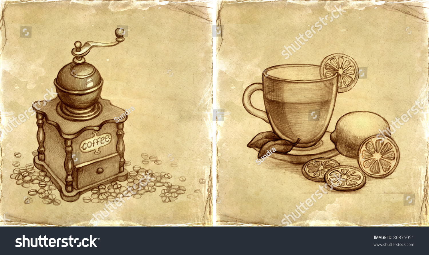 Coffee Grinder Drawing ~ Pencil drawing of glass cup tea with lemon and sketch