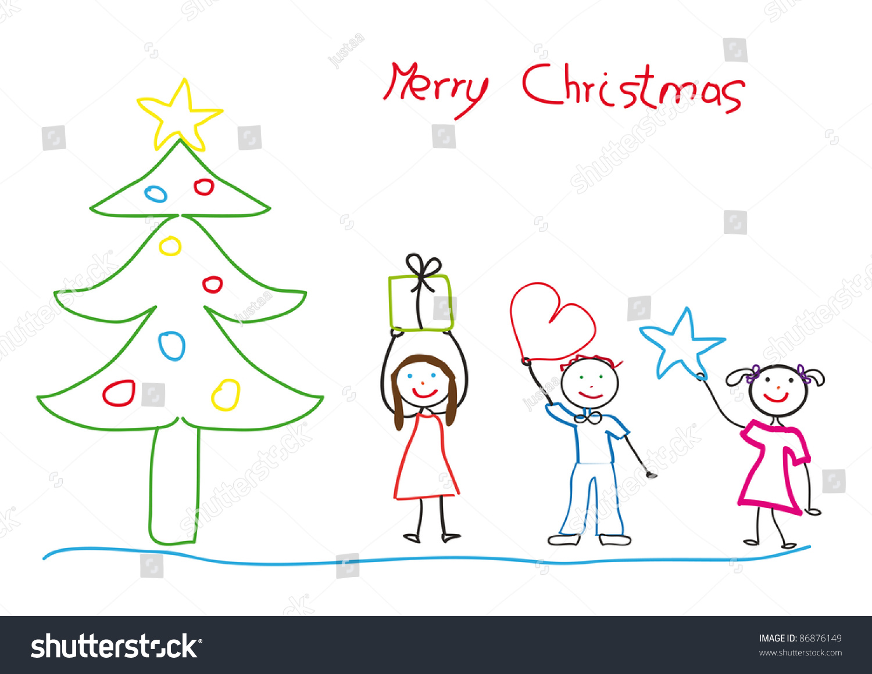 kids drawing christmas tree children stock illustration 86876149
