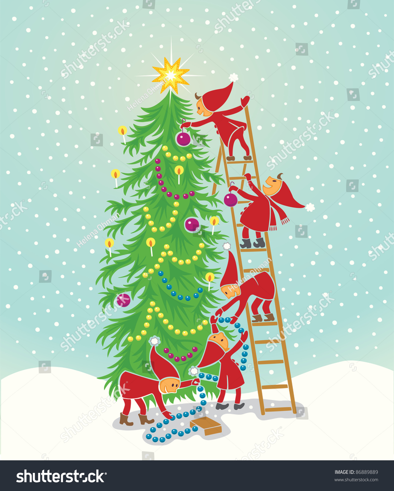 5 Cute Elfs Decorating The Christmas Tree Stock Vector