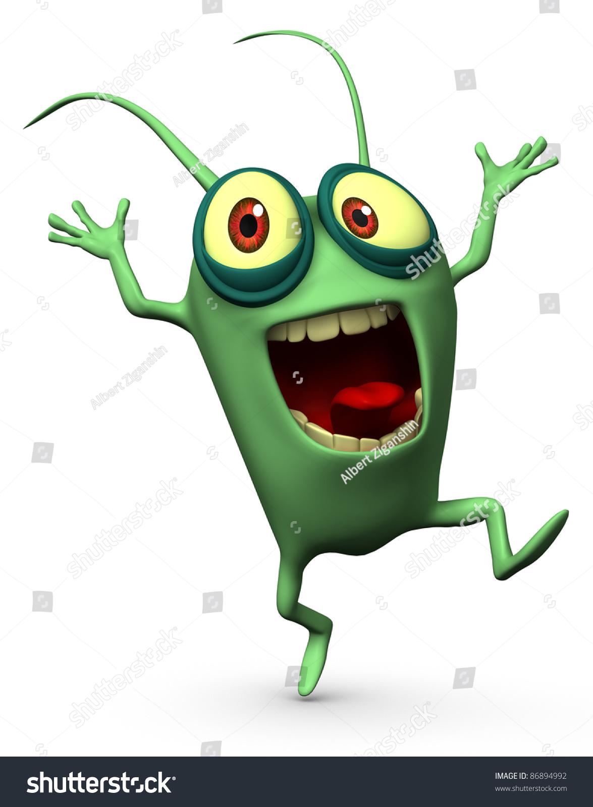 Happy Green Computer Virus Stock Photo 86894992 : Shutterstock