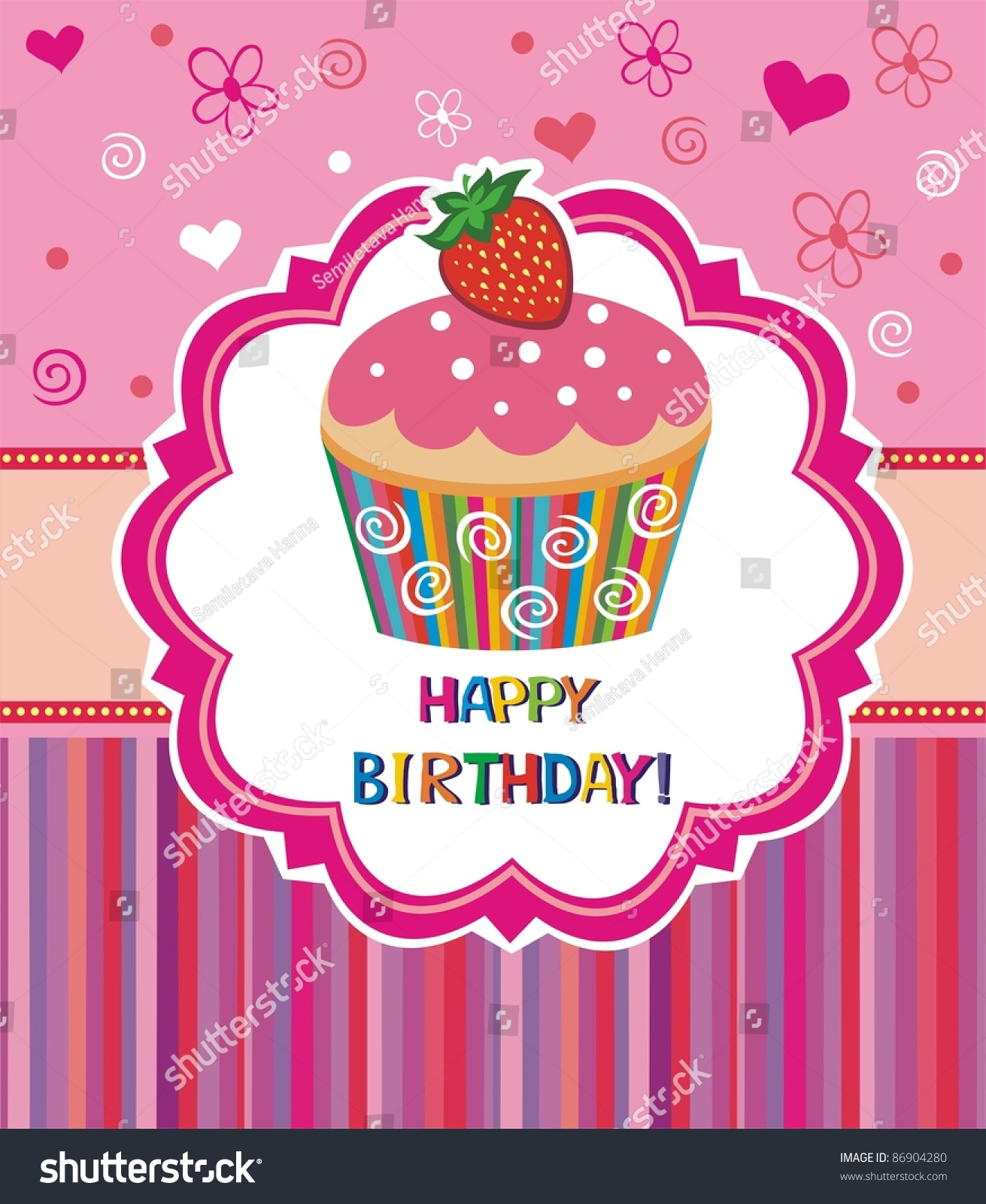 Happy Birthday Card Illustration Cute Cupcake Stock Vector