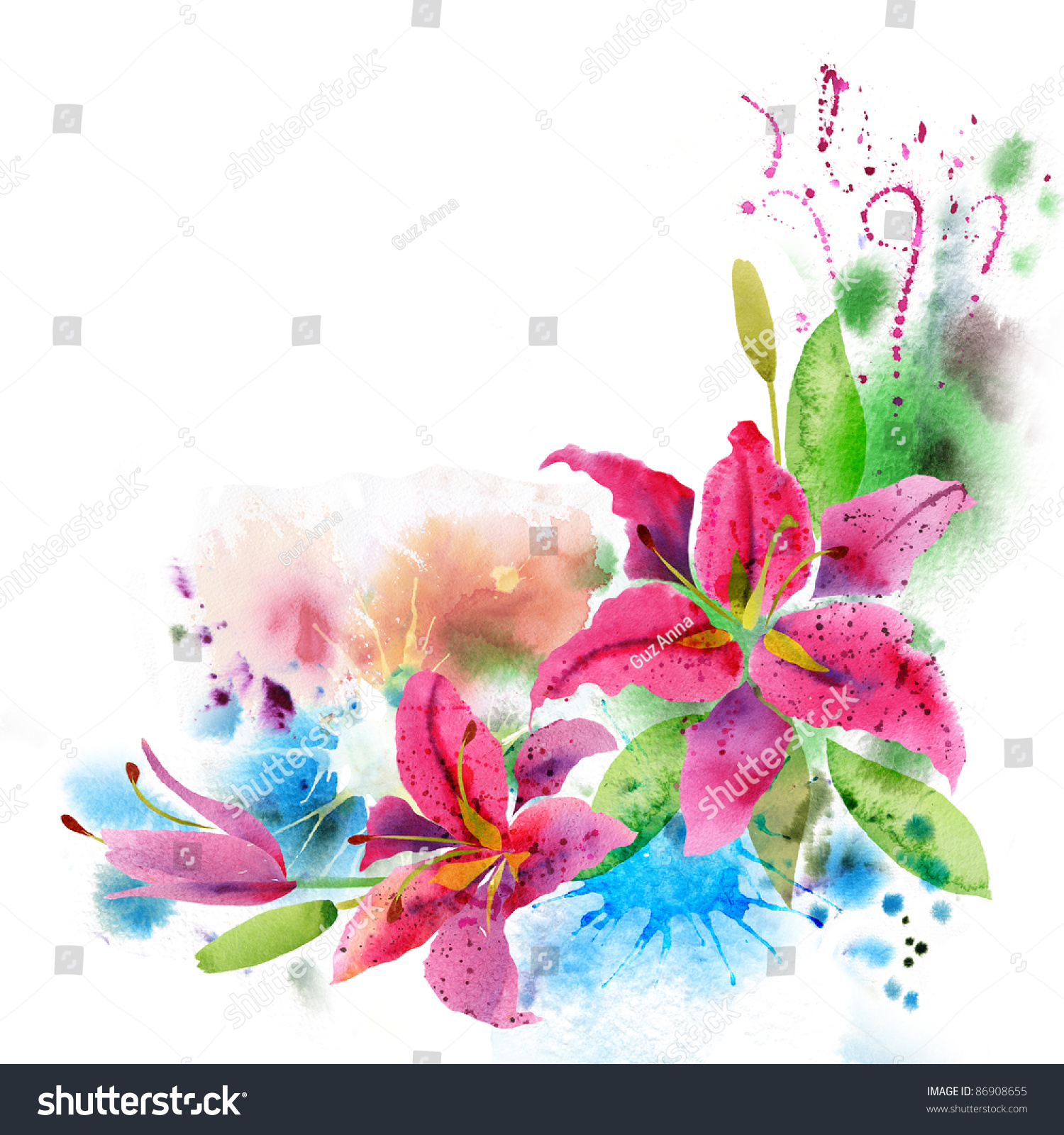 Beautiful Background Watercolor Flowers Lily Stock Illustration