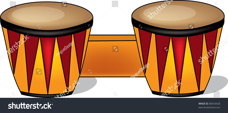 Clip Art Illustration Of Wooden Bongo Drums