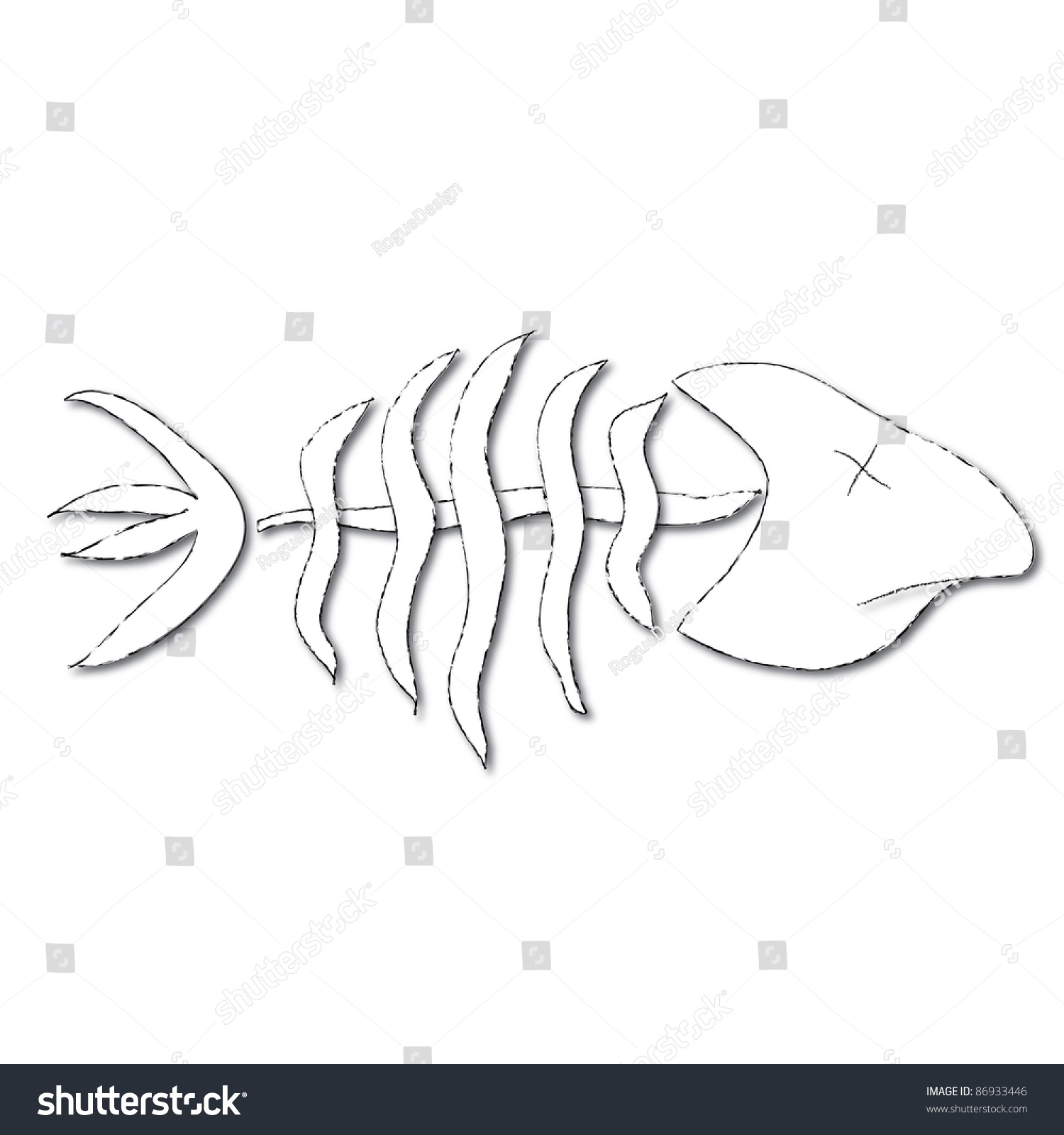 Clip Art Illustration Of Bones Of A Dead Fish. - 86933446 ...