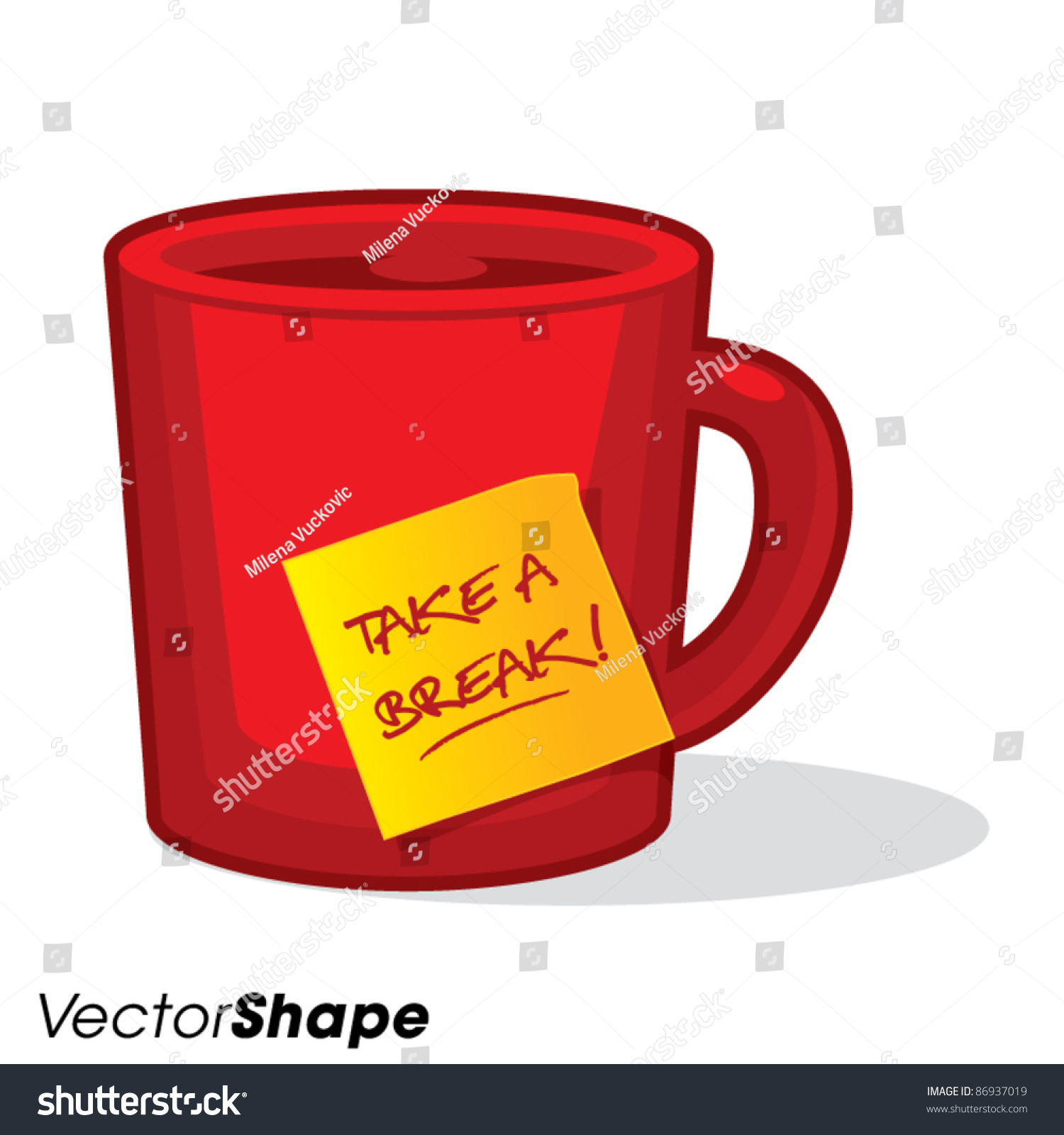 cartoon style tea or coffee cup with a take a break stick
