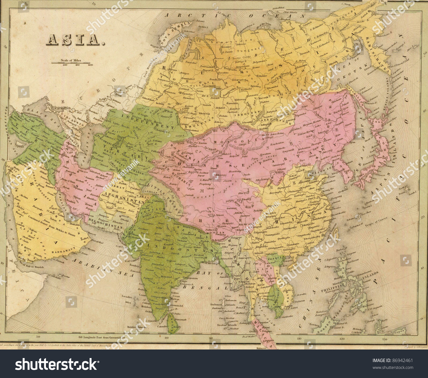 Map Of Asia To Print.Antique Map Asia Out Print 1841 Stock Photo Edit Now 86942461