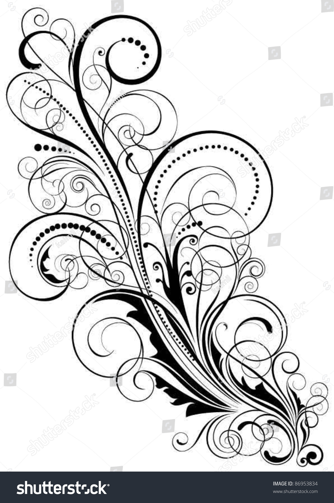 abstract floral swirl design swirl floral design stock vector