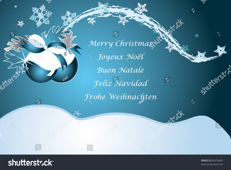 Christmas Greetings German Italian French Spain Stock Vector