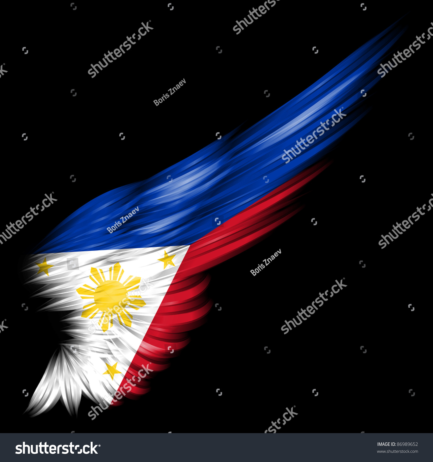 Flag Philippines On Wing Black Background Stock