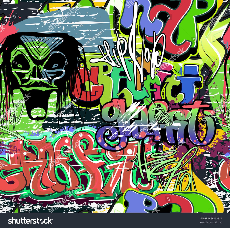 Graffiti wall vector free - Graffiti Wall Vector Urban Hip Hop Background