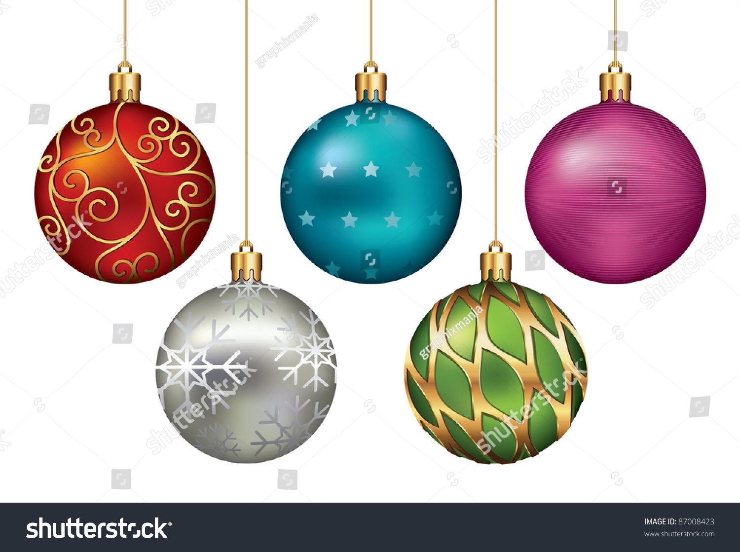 Christmas Ornaments Hanging On Gold Thread. Vector ...