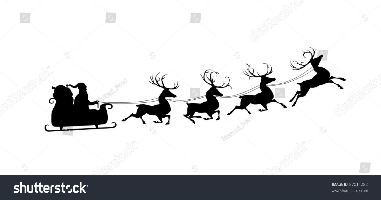 silhouette santa sleigh his reindeers isolated stock illustration