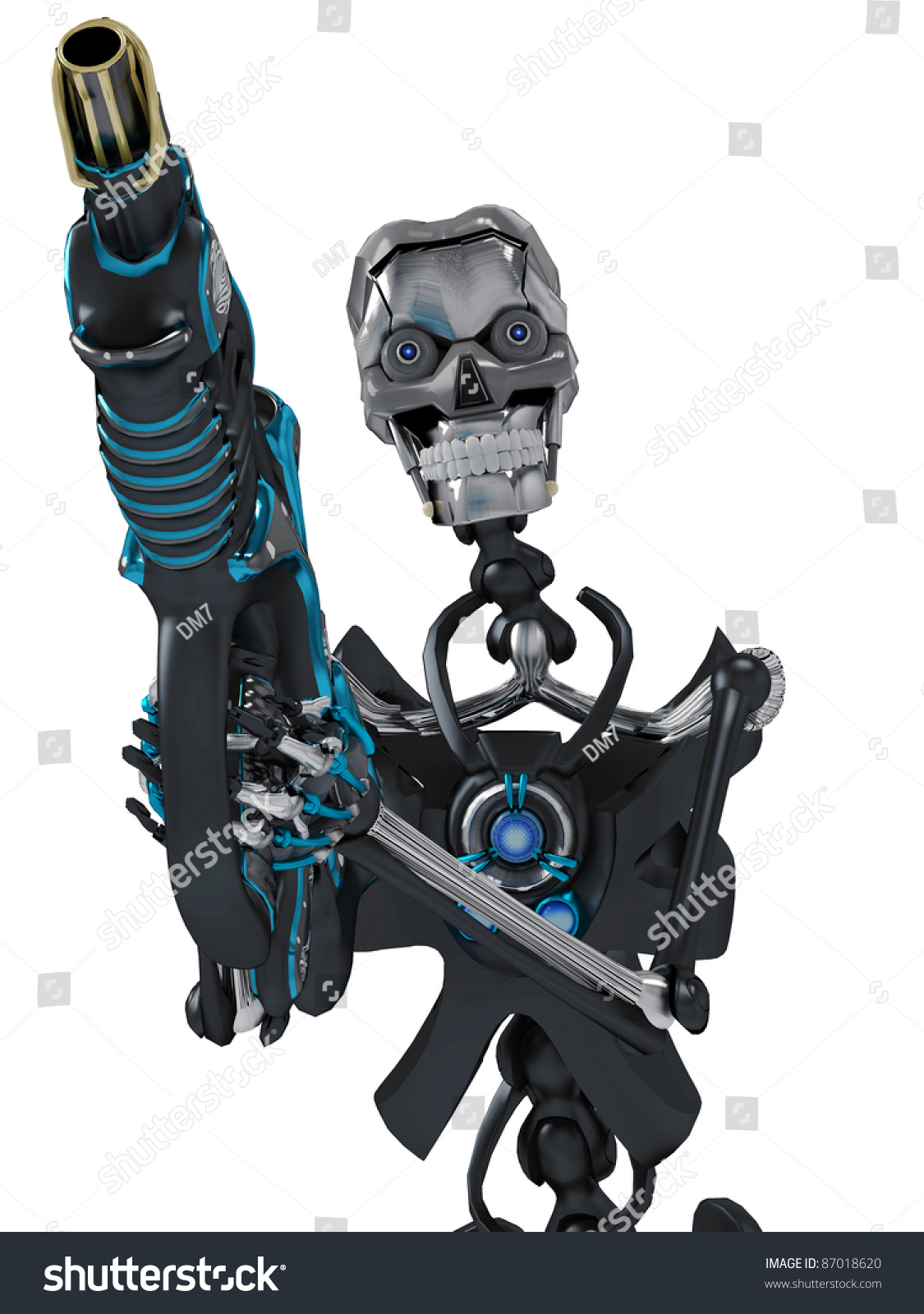 skeleton robot holding a laser gun