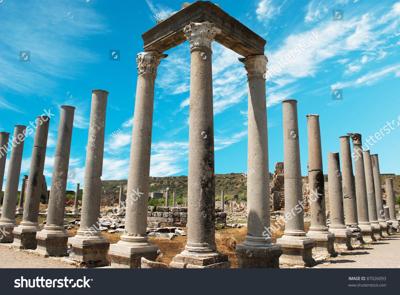 Ancient City Of Perge Near Antalya Turkey Stock Photo ...