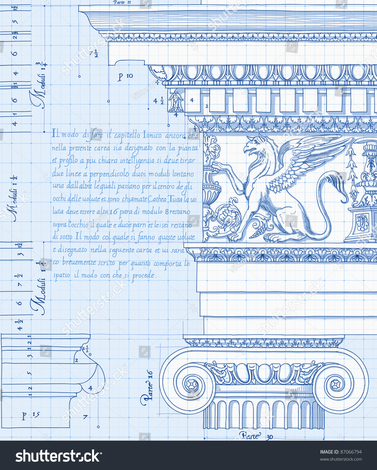 Blueprint hand draw sketch ionic architectural stock illustration blueprint hand draw sketch ionic architectural order bitmap copy my vector id 86211829 malvernweather Image collections