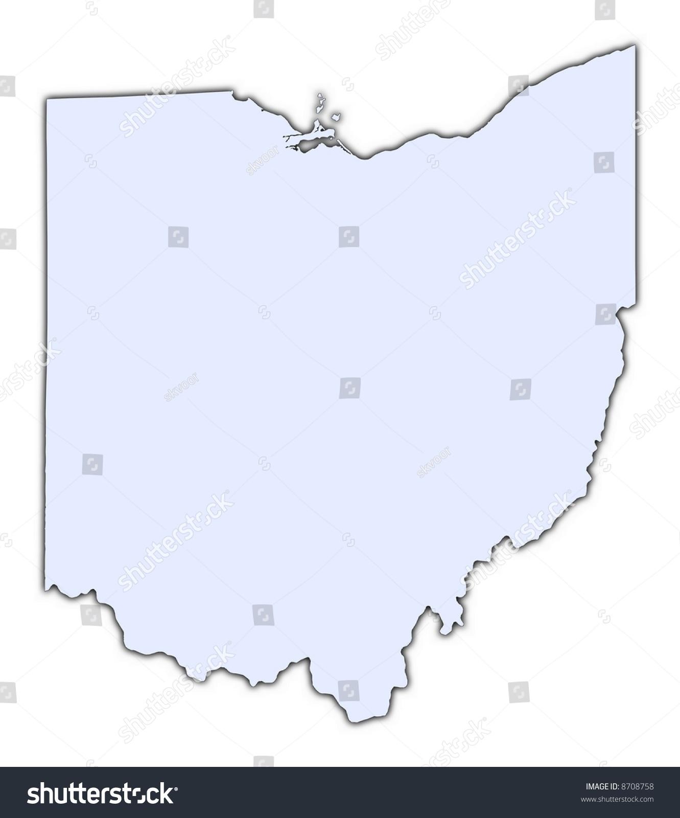 Ohio Usa Light Blue Map Shadow Stock Illustration - Usa map high resolution