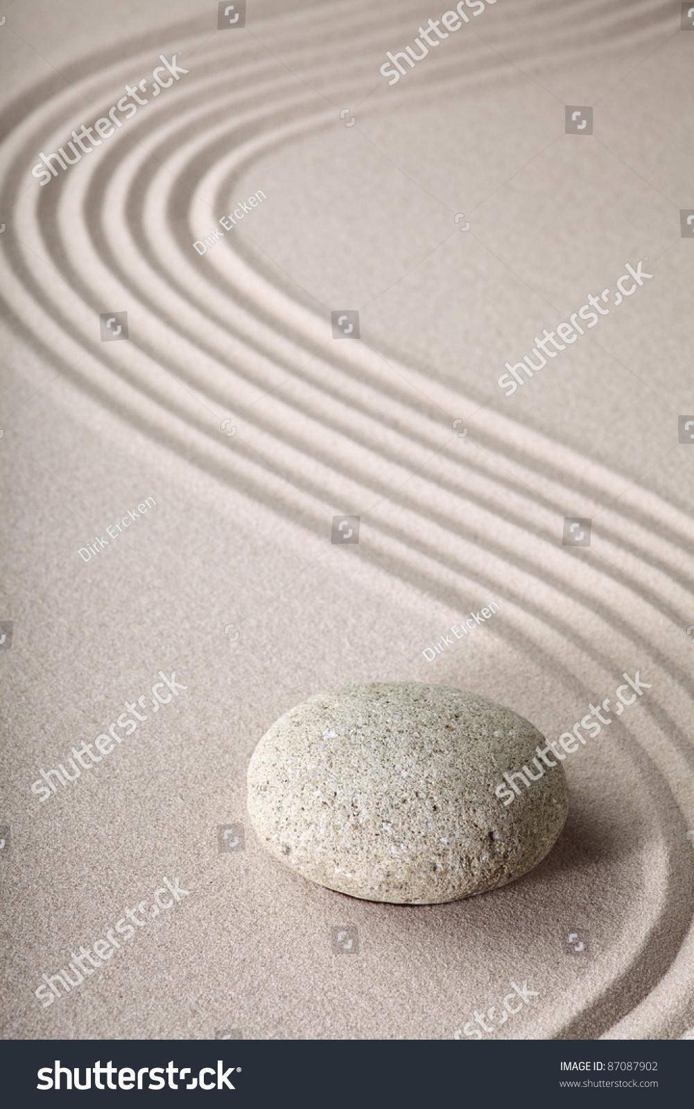 Zen Garden Japanese Garden Zen Stone With Raked Sand And
