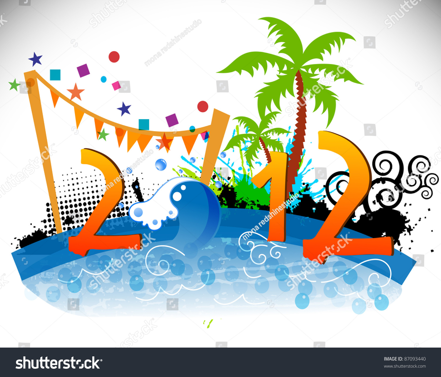 2012 Happy New Year Greeting Card Stock Vector Royalty Free