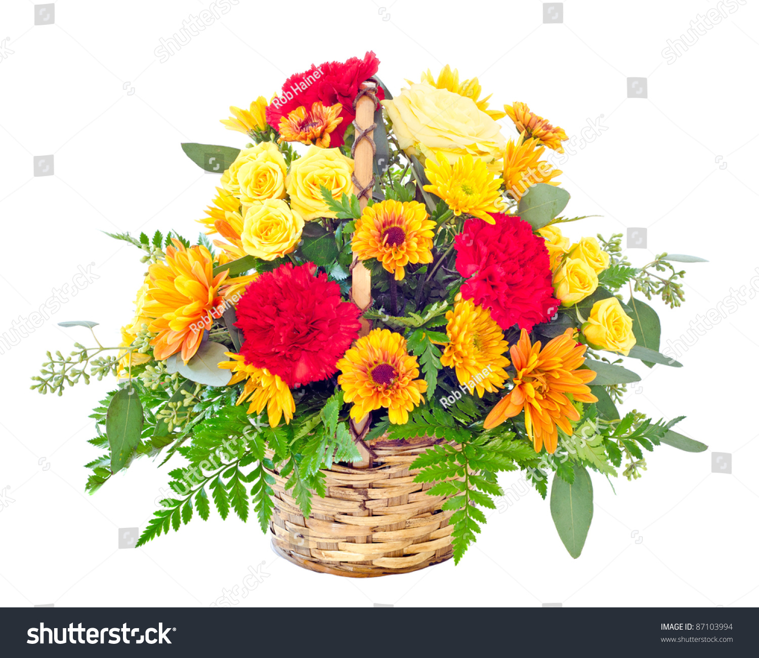 Flower arrangement fall color carnations daisies stock photo flower arrangement with fall color carnations and daisies in basket izmirmasajfo
